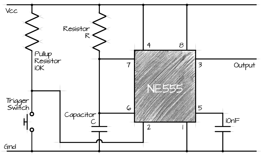 555 Ne555 Monostable Circuit Calculator